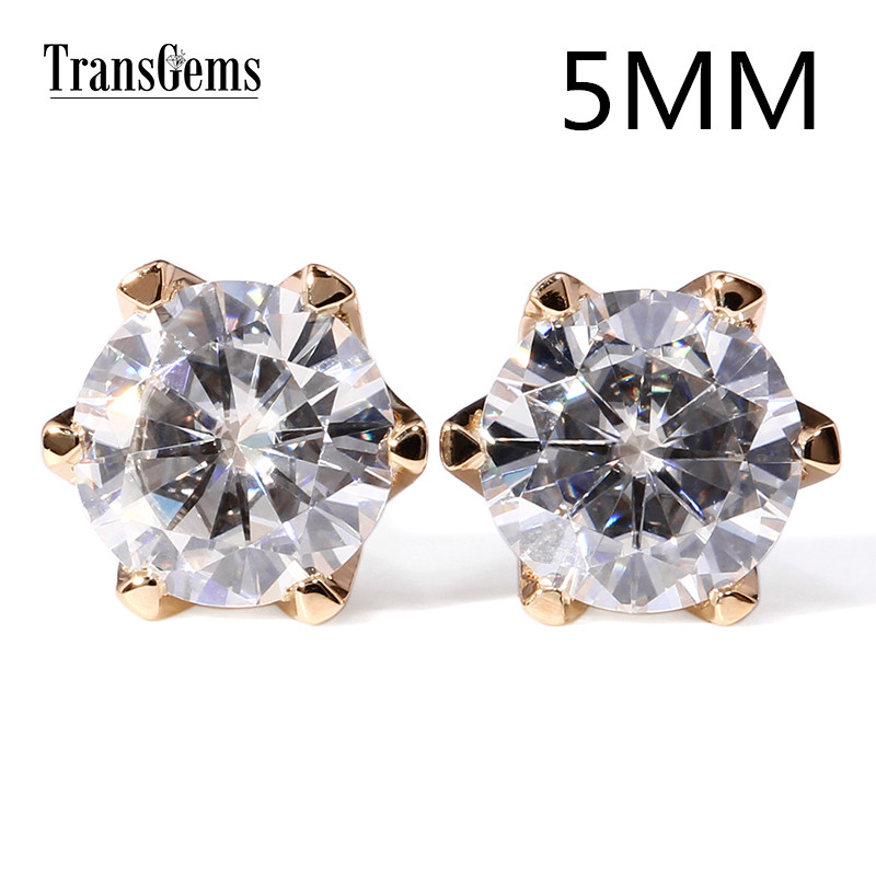 Transgems Classic 14K 585 Yellow Gold 1CTW 5mm 0.5ct Moissanite Diamond Stud Earrings For Women Screw Back and Push Back