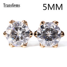 TransGems 1 CTW Carats EF Near Colorless Moissanite Classic Design Women Stud Earrings 18K Yellow Gold