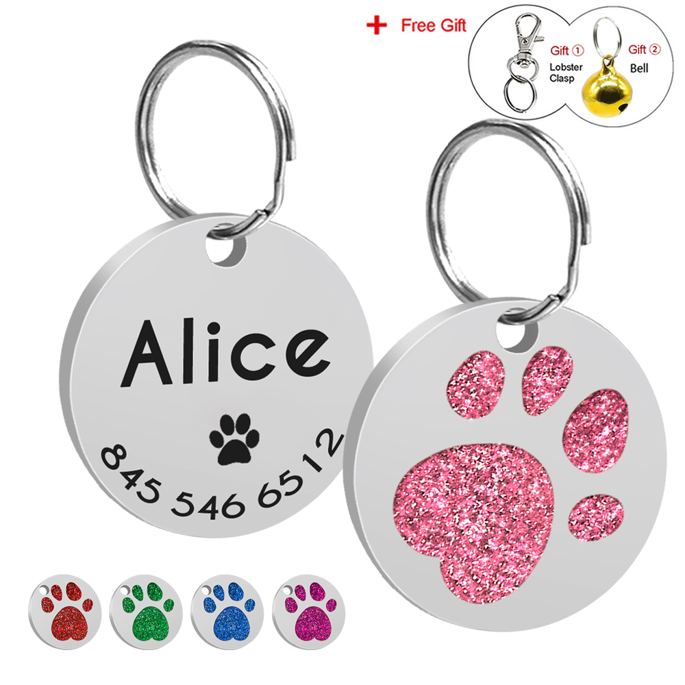 Anti-lost Dog Id Tag Engraved Pet Cat Tags Name And Phone Number Dog Id Tags Dog Collar Accessories With Free Bell