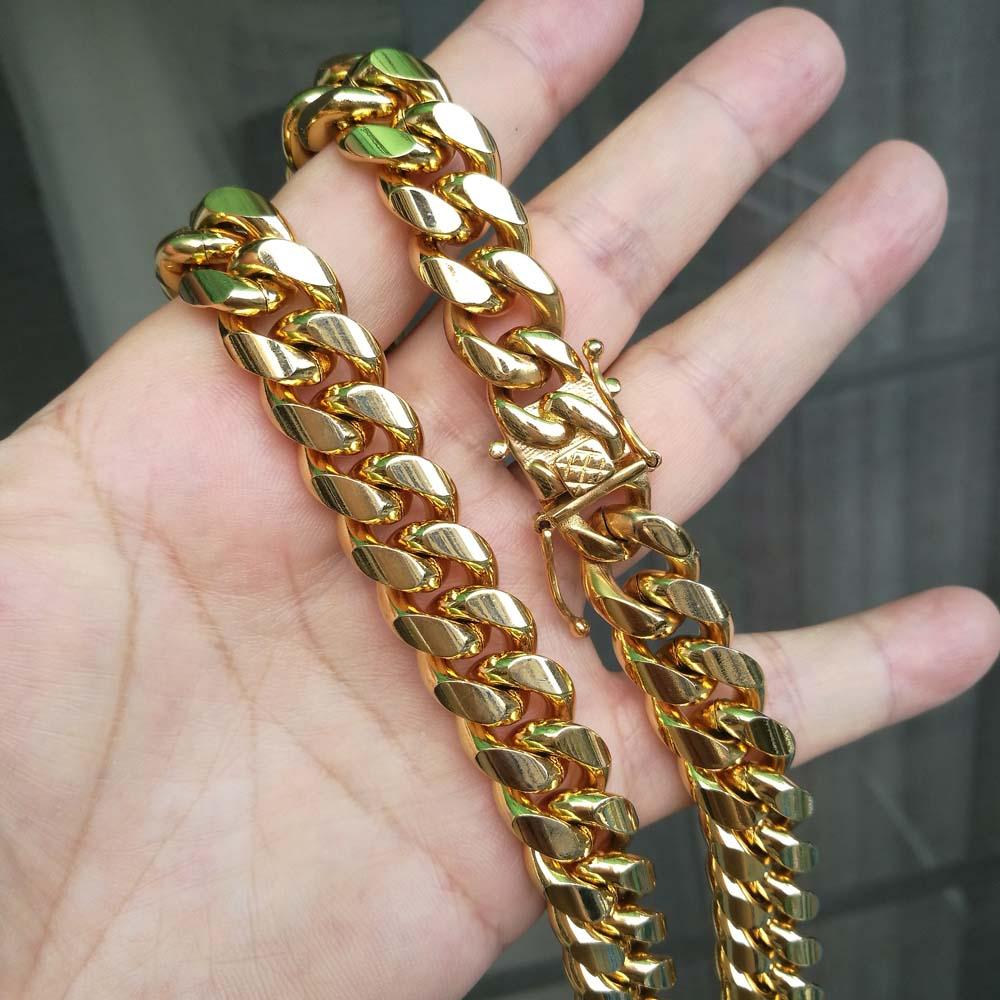 Qmzchentrendy 14 мм нержавеющая сталь панцирная кубинская цепь
