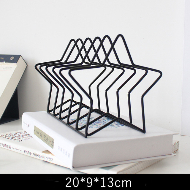 Desktop Book Storage Rack Star Bear Shaped  Iron Bookshelf Bookcase