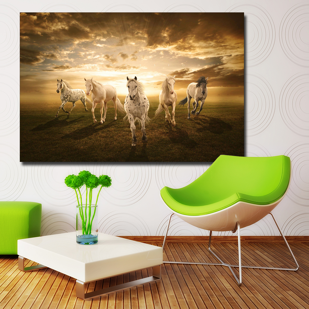 Modern wildlife awesome running horse hd Print canvas Painting sunset wall Picture for living room Art for Home Decor