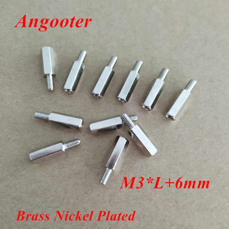 100 ชิ้น M3 Hex Nut ทองเหลือง Standoff Spacer ชายหญิงทองเหลืองชุบนิกเกิลทองเหลือง Hex สกรู Spacer M3 * 5 /6/8/10/12/15/16/18/20/25 + 6