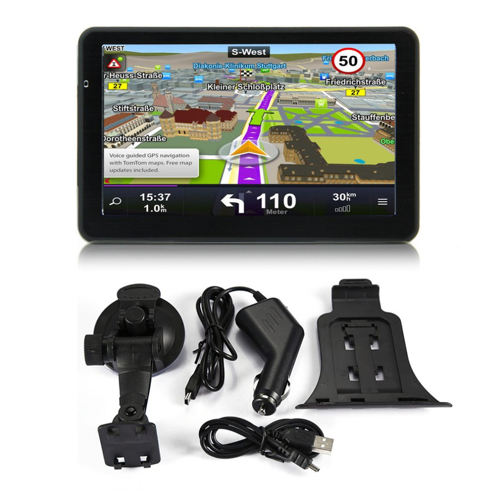 2018 7 inch Car Truck GPS Navigation 256M+8GB Capacitive Screen FM Navigator Reversing Camera Touch Sensor Accurately Position 7 inch car gps navigation capacitive screen fm built in 8gb 256m wince 6 0 map for europe usa canada truck vehicle gps navigator