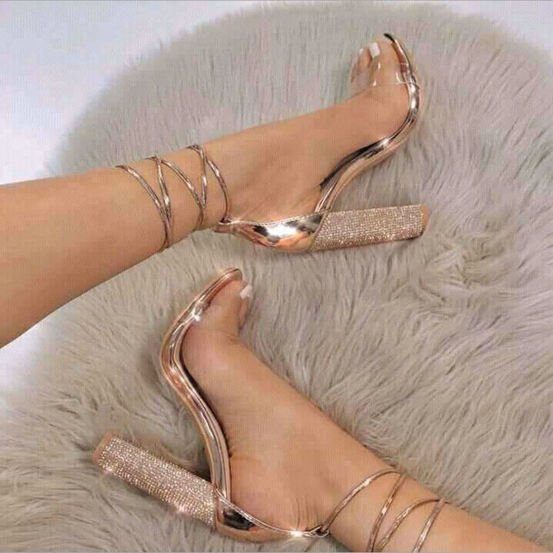 big size 34-43 Women Heeled Sandals Bandage Rhinestone Ankle Strap Pumps Super High Heels 11 CM Square Heels Lady Shoes LS-37big size 34-43 Women Heeled Sandals Bandage Rhinestone Ankle Strap Pumps Super High Heels 11 CM Square Heels Lady Shoes LS-37