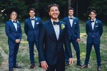 New Arrival Men's three Piece Wedding Groom Tuxedos Groomsman Best Man Party Suits One Button  ( Jacket+Pants+Bow Ties )