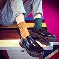 Low Cut Лакированной Кожи Мода PU Кожаные Ботинки Женщин Англии Стиль повседневная Коренастый Sole Низком Каблуке Поскользнуться На Круглый Носок Оксфорд Обувь