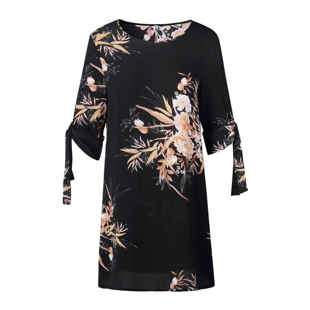 5XL Plus Größe Kleid Frauen Sommer Sommerkleid Blau Perle Chiffon Kleid Büro Arbeit Tie Floral Gedruckt Casual Strand Kleider Vestidos