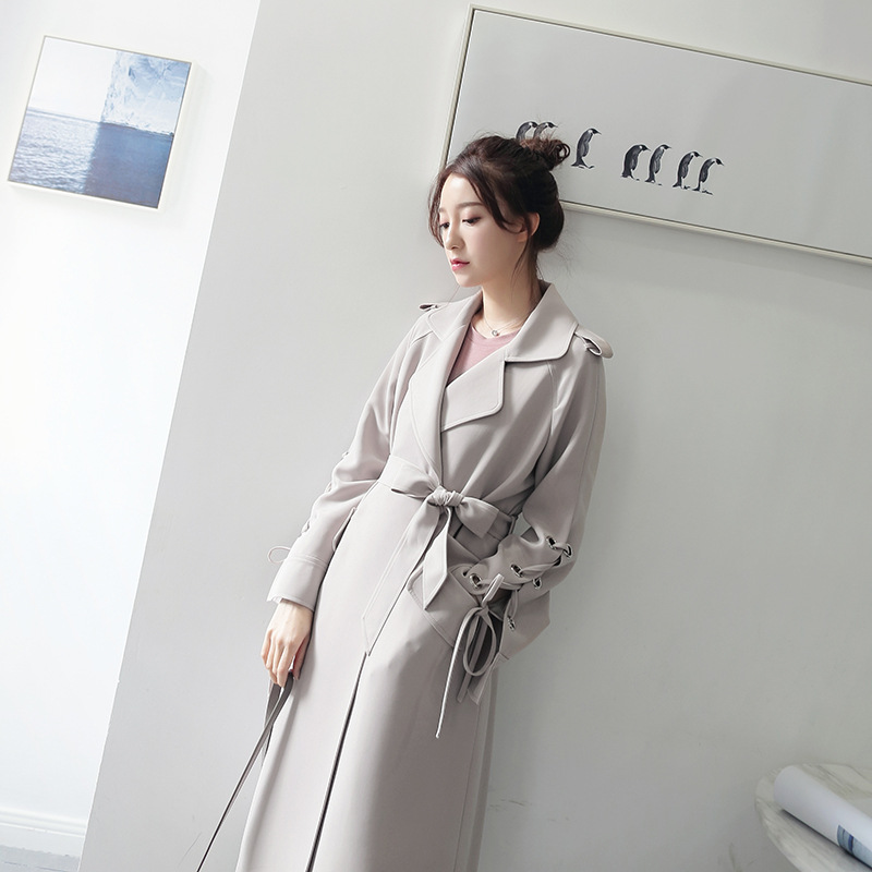 Spring Autumn Long Trench Coat For Women Lapel long sleeve Elegant lady trench coat Grey apricot thin windbreaker ASS8016
