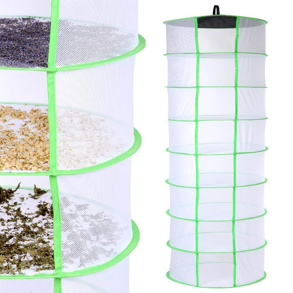 8 Layer Foldable Hanging Mesh Dry Net Herb Herbal Rack for Flowers Plant Vegetable Dishes Dry Rack Hanger