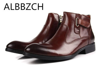 New mens genuine leather work boots autumn winter shoes men fashion british trend business dress ankle boots military boots shoe