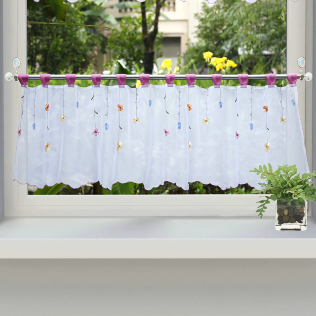 Rose Red Loops Nice Flowers Embroidered Kitchen Balcony Small Tulle Window  Curtains Half Curtain 1PCS