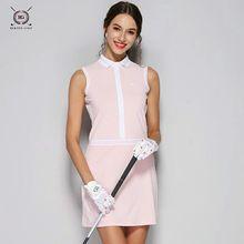 Цельное платье для тенниска с юбкой Женская Спортивная одежда для гольфа без рукавов дышащее Спортивное платье тонкое для женщин