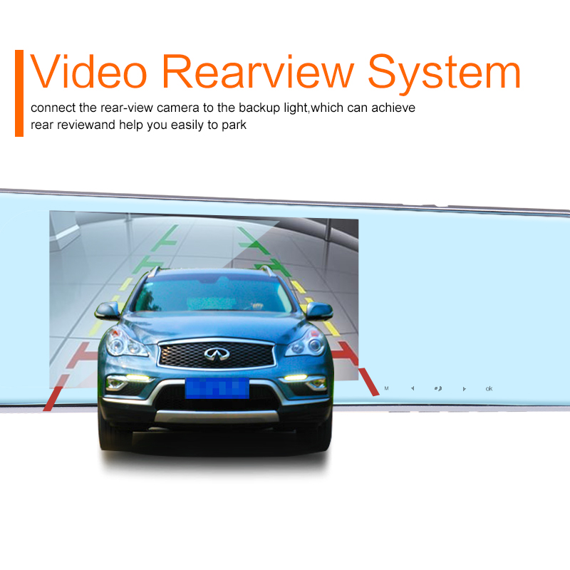 2017 Car Dvr Auto Video Recorder Rear View Mirror With Camera FHD 1080P Dashcam Dual Lens Parking Monitor Cars Registrator intelligent quad channel car camera video recorder dvr for rear front side view camera four split screen with remote controller