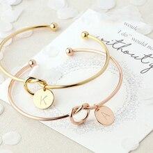 Модные женские ювелирные изделия из сплава, браслеты с буквами для женщин, розовое золото/серебро, браслет с бантом, новинка