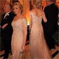 2016 элегантный мать невесты платья платье-линии половина Sleevees шампанское длинные кружева ну вечеринку платья мать платья для свадьбы