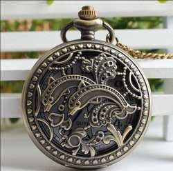 Винтаж классический дельфины выдалбливают кварцевые мужские и женские подарочные карманные часы FOB цепи часы