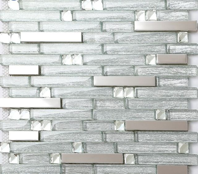 Glass Tiles For Kitchen: Stainless Steel Backsplash Metallic Mosaic Glass Diamond