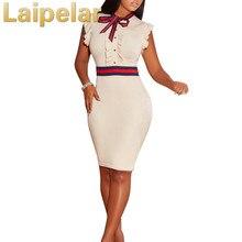 Laipelar Women  Sexy Sleeveless knee Length Pearl Bow tie Summer Plus Size Bodycon Dress 3XL