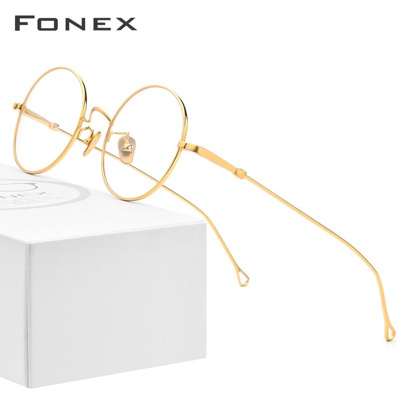 Titane pur lunettes cadre hommes Vintage rétro rond myopie optique Prescription lunettes cadres femmes thaïlande lunettes