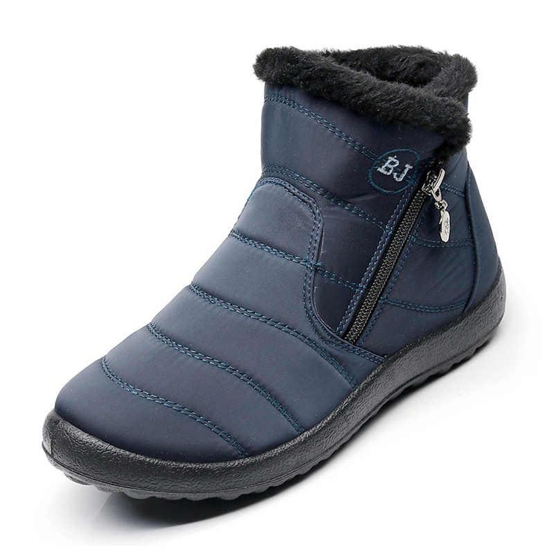 Frauen Stiefel 2019 Winter Schuhe Frau Schnee Stiefel Mit Plüsch Innen Botas Mujer Wasserdicht Plus Größe 43 Winter Stiefel Weibliche booties