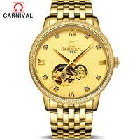 Карнавал Для мужчин S Часы лучший бренд класса люкс Полный Золотой Для мужчин автоматические часы Скелет Для мужчин S спортивные часы модель