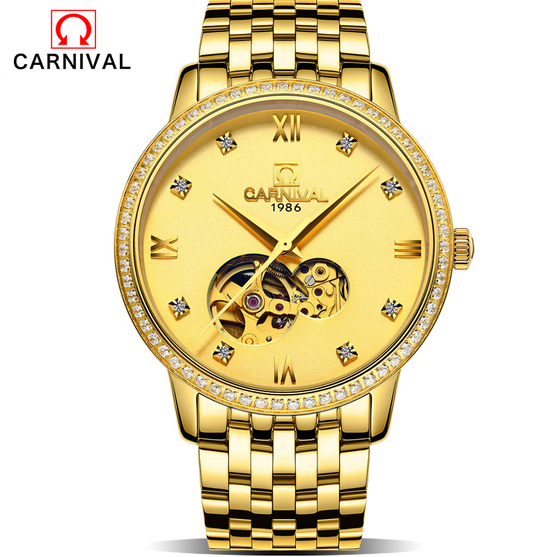 Carnival Mens Watches Top Brand Luxury Full Golden Men Automatic Skeleton Watch Mens Sport Watch Designer Fashion Casual Clock M forsining date month display rose golden case mens watches top brand luxury automatic watch clock men casual fashion clock watch