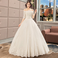 Robe De Mariee Light Champagne Lace Elegant Bridal Gowns Off The Shoulder Half Sleeve Wedding Dresses Princess Ball Gown