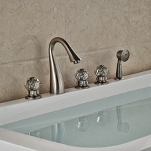 NEW Nickel Brushed Bathroom Tub Faucet W/ Hand Shower Sprayer Deck Mounted