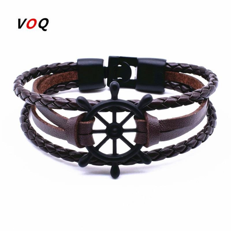 2017 Punk Rudder Anchor Bracelet Men Jewelry Leather Bracelets Bangles For Women Fashion Best Love Navigation Gifts