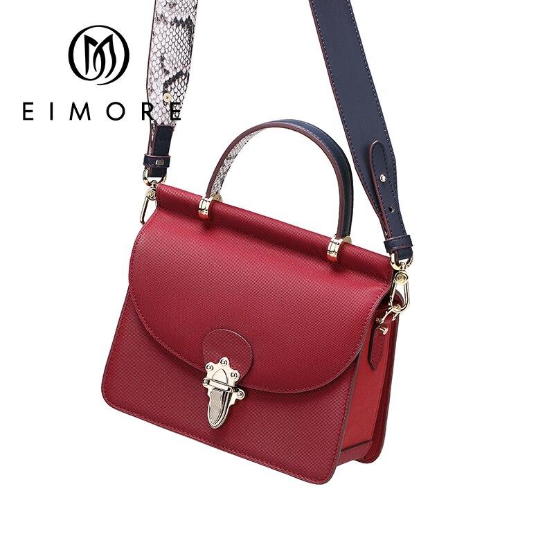 EIMOR Brand 2019 New Flap Genuine Leather Handbag Ladies Shoulder bag Women Satchel Messenger Crossbody Bags Anti-theft Lock Bag