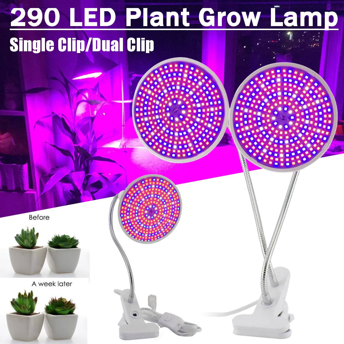 290 LED Plant Grow Light Hydroponic Lighting Clip Plants Lamp For Flower Hydroponics System Indoor Garden Greenhouse Seeding New