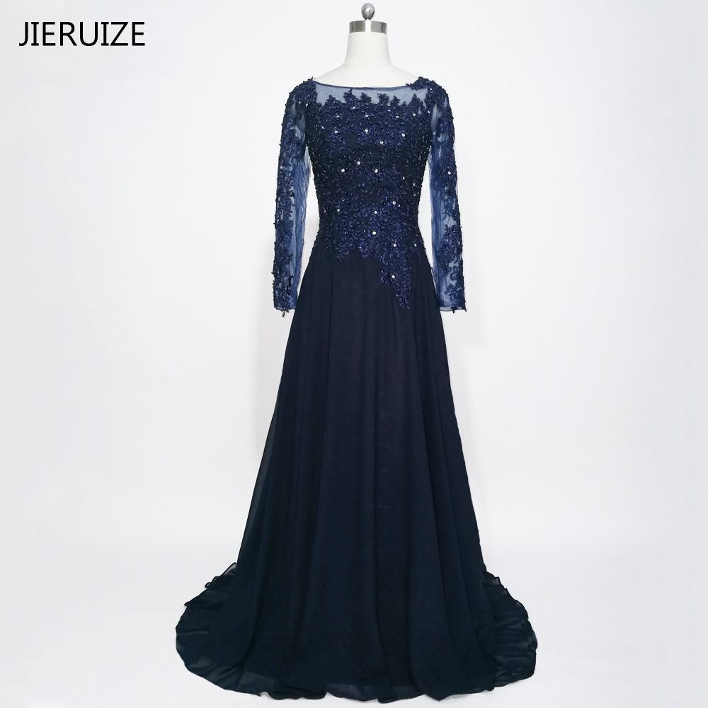 JIERUIZE Biru Tua Lengan Panjang Evening Dresses Lace Appliques Beaded Formal Dresses Ibu dari Gaun Pengantin