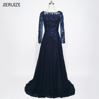 Robe De Soiree Dark Navy Blue Long Sleeves Evening Dresses Lace Appliques Beaded Formal Dresses Mother