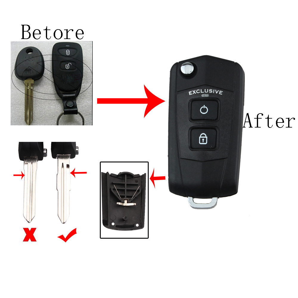 2 Buttons Car key shell Fob For Flip Key Shell + Key Blank + Battery Holder refit For HYUNDAI Santa Fe 2006-20102 Buttons Car key shell Fob For Flip Key Shell + Key Blank + Battery Holder refit For HYUNDAI Santa Fe 2006-2010