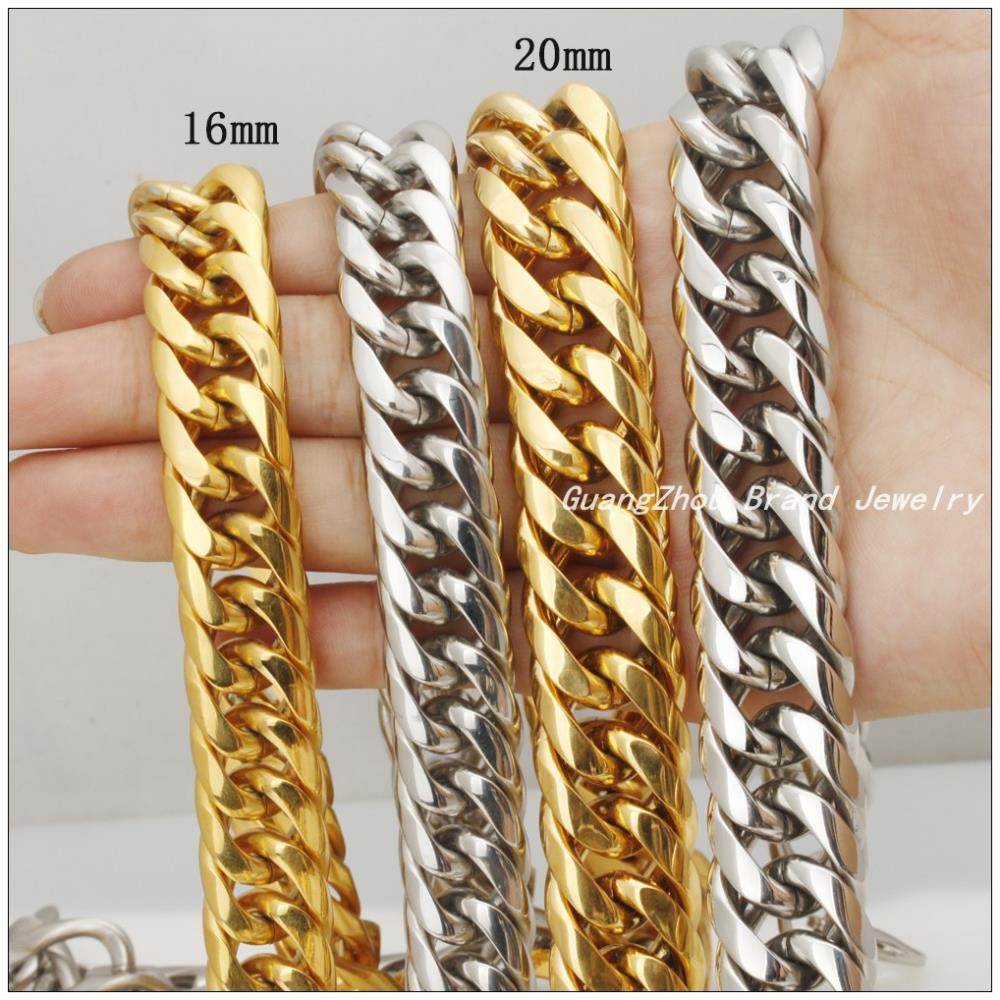 61523adad31df US $15.58 |Hotsale Huge Heavy Fashion Jewelry 316L Stainless Steel  16mm/20mm Silver Gold Curb Cuban Chain Men's Boy's Necklaces 22