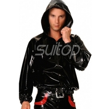 Black latex shirt with cap rubber boxer sweater suit men's top