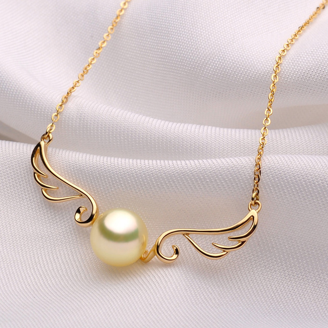 An Akoya Pearl Pendant Necklace 18k Yellow Gold Angle S Wings 8 9mm Golden Jewelry