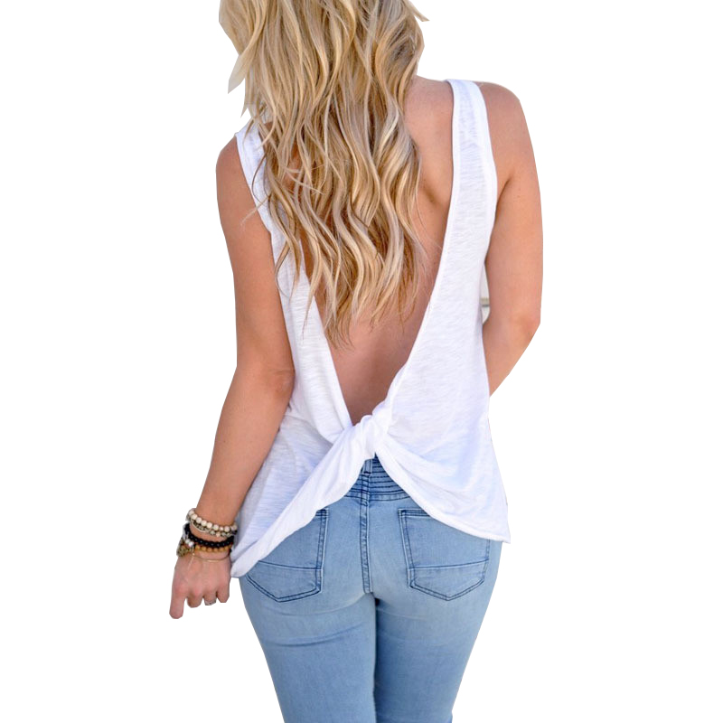 Casual Cotton T-Shirt Female Black Gray White Sexy Backless Summer - Women's Clothing - Photo 1