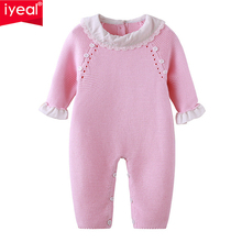 IYEAL Newborn Baby Girls Pink Knit Romper Ruffled Cuff Clothes Cute Infant Toddler Princess Outfits