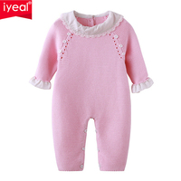 a4431fce89 IYEAL Newborn Baby Girls Pink Knit Romper Ruffled Cuff Baby Clothes Cute  Infant Toddler Girls Princess