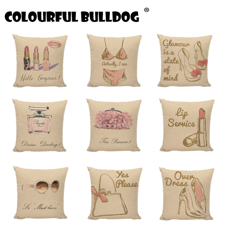 New Woman Exclusive Linen Throw Pillow Cases Perfume Lipstick Cushion Covers For Sofa Home New Year Decorative Pillowcases Gifts