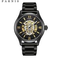 Parnis автоматические часы Череп светящийся Скелет самостоятельно ветер Wacht для мужчин черный Bay кожа сапфировое стекло PA6054