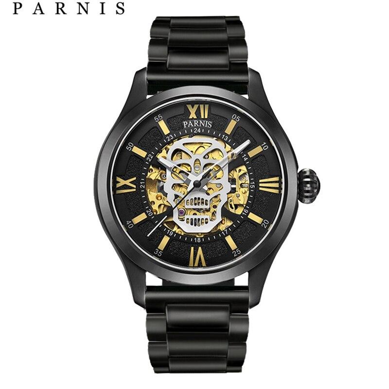 Parnis automatyczny zegarek czaszka Luminous szkielet własna wiatr Wacht mężczyzn Black Bay skóra szafirowe szkło PA6054 w Zegarki mechaniczne od Zegarki na  Grupa 1