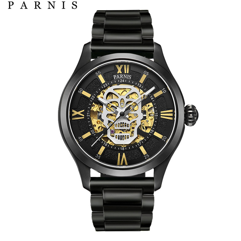 Parnis reloj automático calavera esqueleto luminoso auto viento Wacht hombres negro Bahía cuero zafiro vidrio PA6054-in Relojes mecánicos from Relojes de pulsera    1