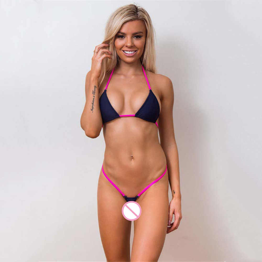 Mikro bikini 2019 Seksi Sling Donanma üçgen Mini Tanga Açık geri kız Plaj spa mayo kadın mayo biquini bikini tek parça bikini