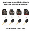 Lot/10pcs 2003-2007 Car Remote Key Inner Assembly for Honda Odyssey FIT Civic Accord 313.8Mhz/315Mhz/433Mhz
