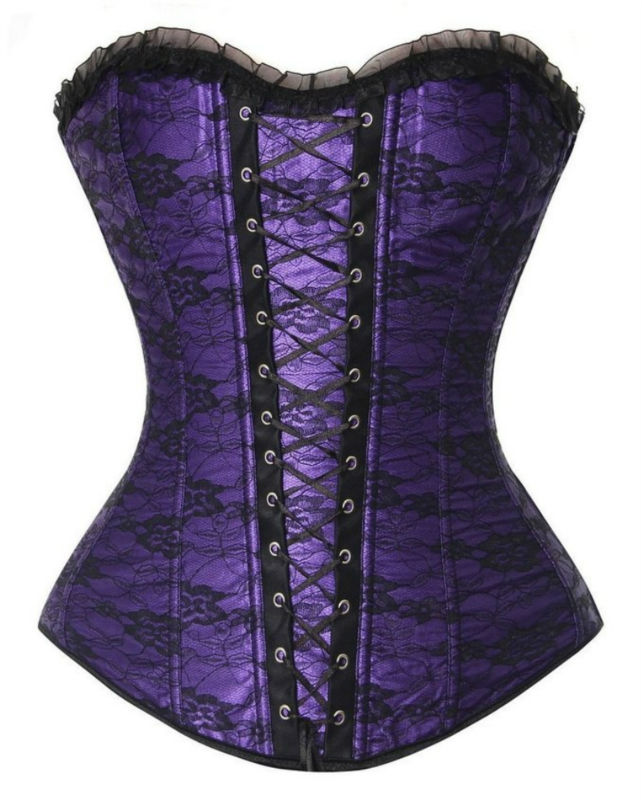 Sexy Satin Lace up Boned Overbust Corset Bustier with Lace Trim Lingerie Zipper Side Carnival Waist and Body Shaper Corset Top