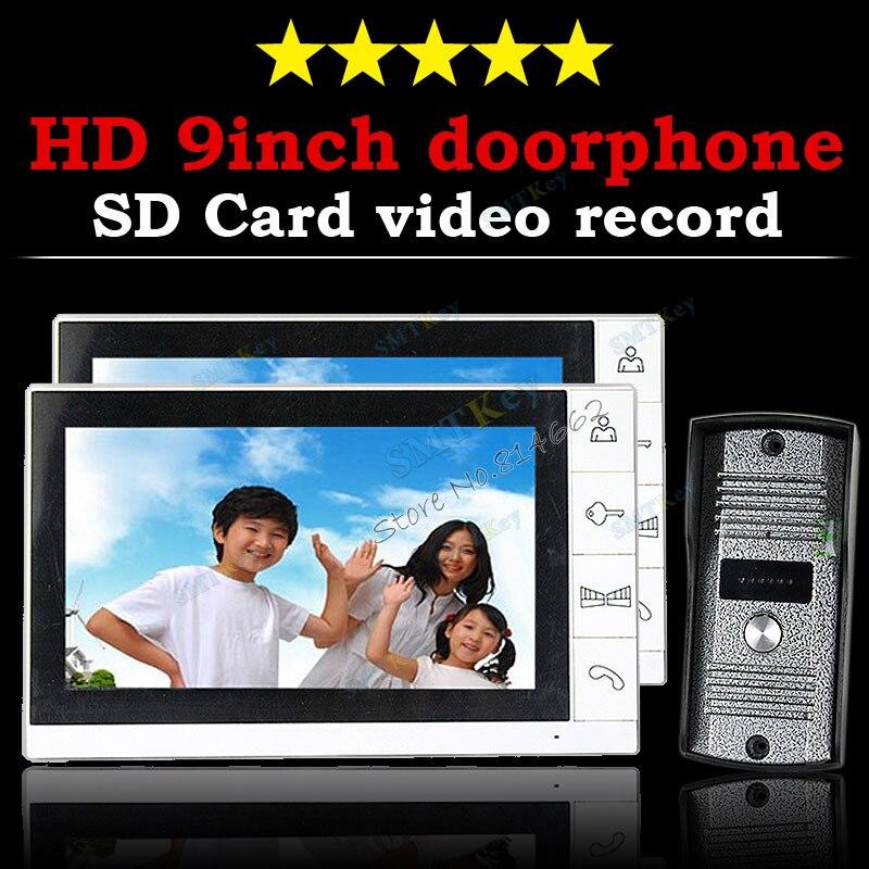 2V1 gran oferta 9 pulgadas TFT Monitor LCD Color Video registro puerta teléfono timbre intercomunicador sistema con cámara IR