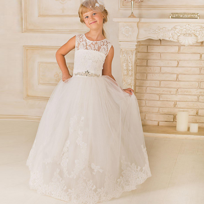 Flower Girl Dresse White lace applique sleeveless Princess Gown Girls Pageant Dresses First Communion Party Dresses
